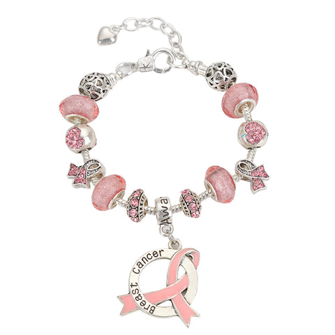 Breast Cancer Awareness Luxury Charm Bracelet