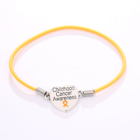 Childhood Cancer Heart Charm Stretch Bracelet