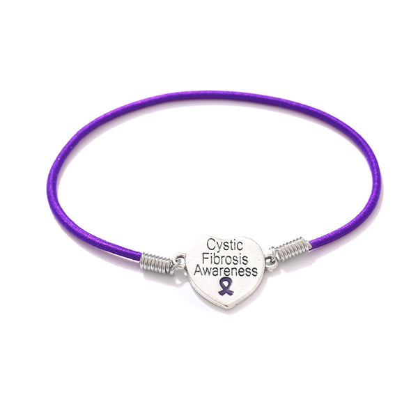 Cystic Fibrosis Heart Charm Stretch Bracelet