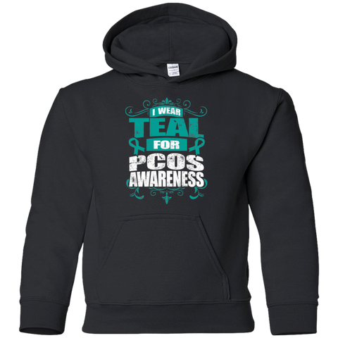 I Wear Teal for PCOS Awareness! KIDS Hoodie