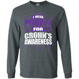 I Wear Purple for Crohn's Awareness! Long Sleeve T-Shirt