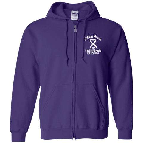 I Wear Purple for Cystic Fibrosis Awareness... Zip Up Hoodie