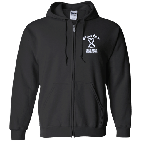 I Wear Black For Melanoma Awareness... Zip Up Hoodie