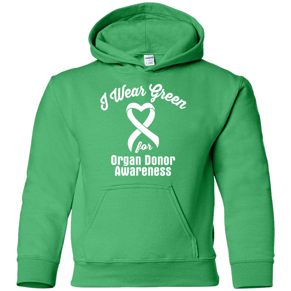 I Wear Green for Organ Donor Awareness... Kids Hoodie
