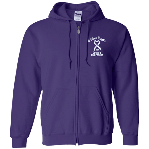 I Wear Purple For Crohn's Awareness... Zip Up Hoodie