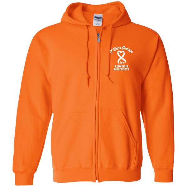 I Wear Orange For Leukemia Awareness... Zip Up Hoodie