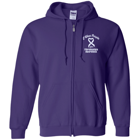 I Wear Purple For Fibromyalgia Awareness... Zip Up Hoodie