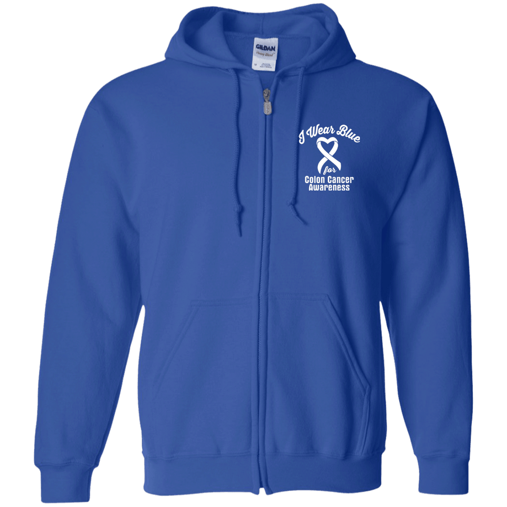I Wear Blue for Colon Cancer Awareness... Zip Up Hoodie