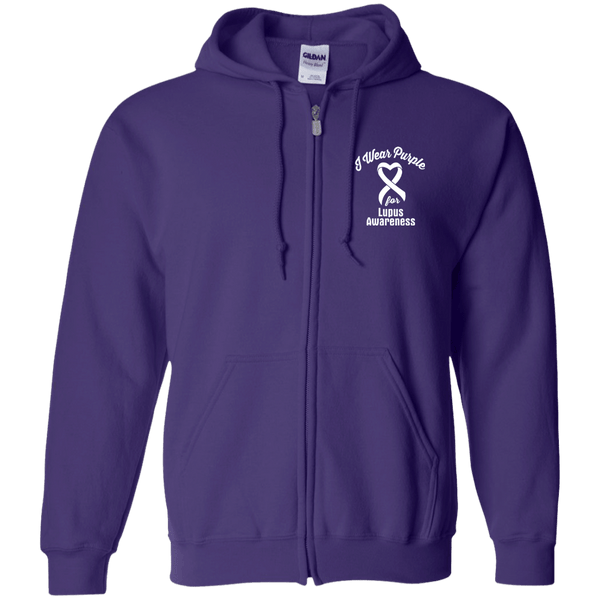 I Wear Purple For Lupus Awareness... Zip Up Hoodie