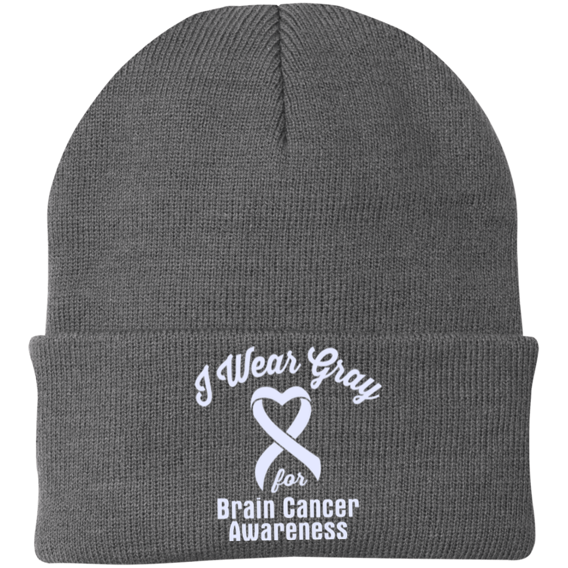 I Wear Gray For Brain Cancer - Knit Cap – The Awareness Store c86a1d30d3d