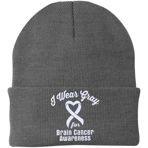 I Wear Gray For Brain Cancer - Knit Cap