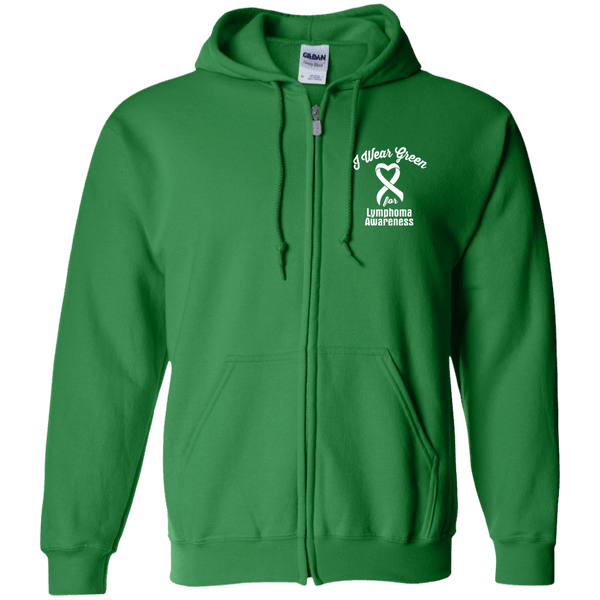 I Wear Green For Lymphoma Awareness... Zip Up Hoodie