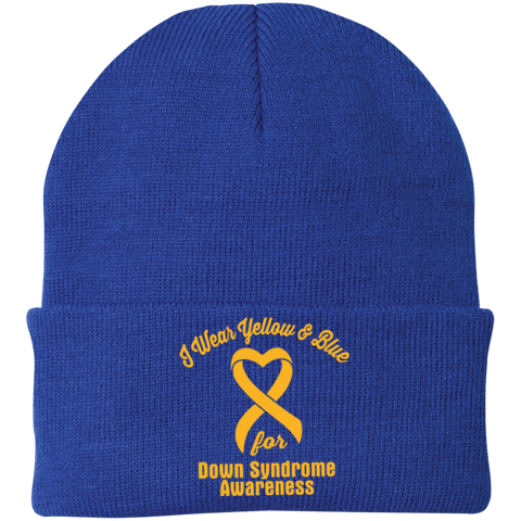 I Wear Yellow & Blue for Down Syndrome... Knit Cap
