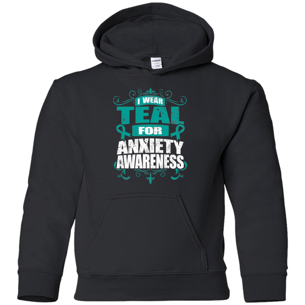 I Wear Teal for Anxiety Awareness! KIDS Hoodie