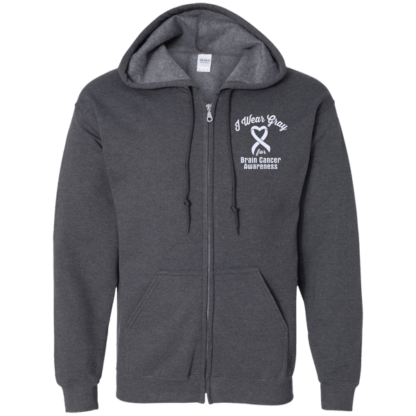 I Wear Gray For Brain Cancer Awareness... Zip Up Hoodie