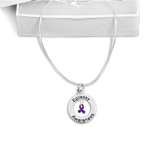 Epilepsy Floating Ribbon Awareness Necklace