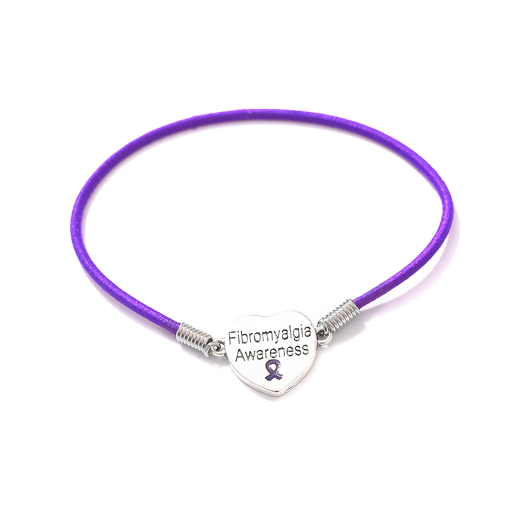 Fibromyalgia Awareness Heart Stretch Bracelet