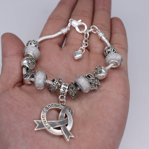 Brain Cancer Awareness Luxury Charm Bracelet