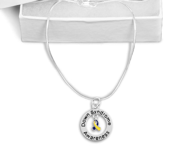 Down Syndrome Floating Ribbon Awareness Necklace