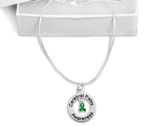 Cerebral Palsy Floating Ribbon Awareness Necklace