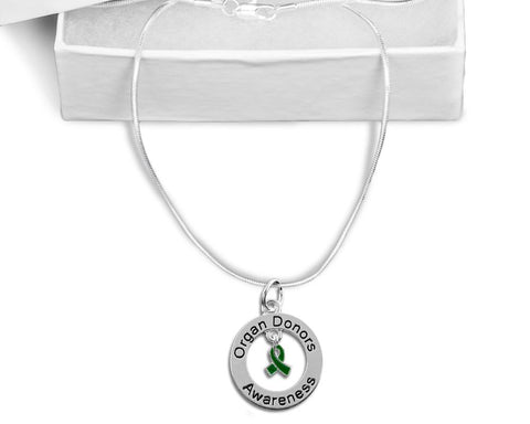 Organ Donors Floating Ribbon Awareness Necklace