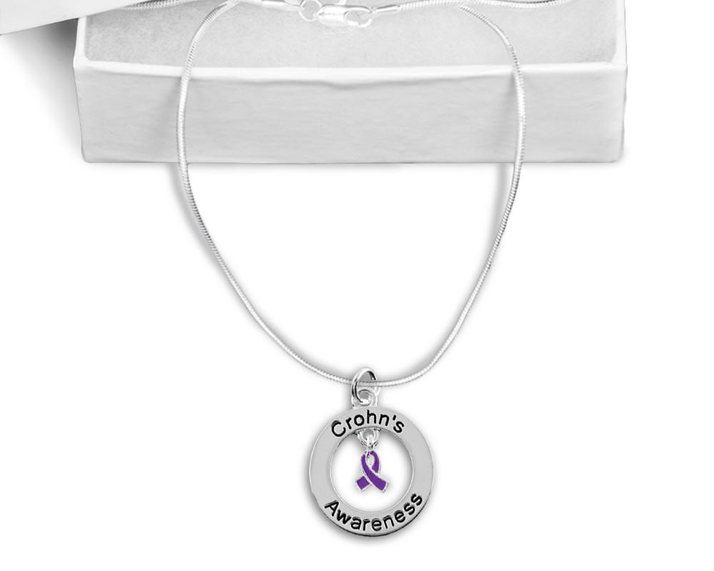 Crohn's Floating Ribbon Awareness Necklace