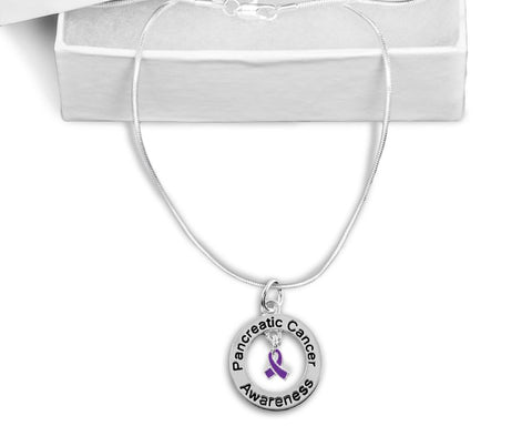 Pancreatic Cancer Floating Ribbon Awareness Necklace
