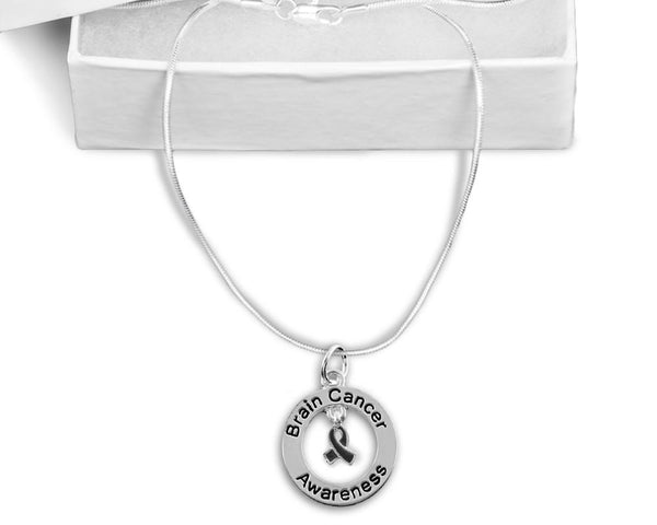 Brain Cancer Floating Ribbon Awareness Necklace