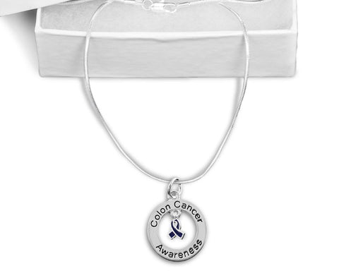 Colon Cancer Floating Ribbon Awareness Necklace