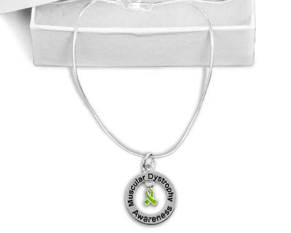 Muscular Dystrophy Floating Ribbon Awareness Necklace