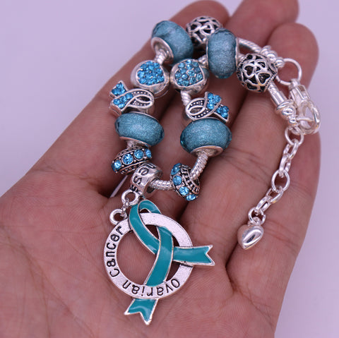 Ovarian Cancer Awareness Luxury Charm Bracelet