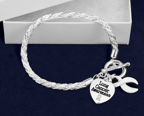 Lung Cancer Heart Charm Bracelet