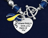 Where There Is Love Down Syndrome Ribbon Bracelet