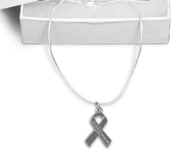 Brain Cancer Awareness Ribbon Necklace