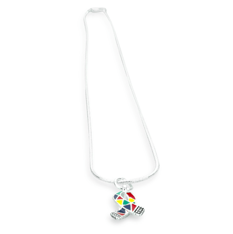 Autism Awareness Jigsaw Puzzle Ribbon Necklace