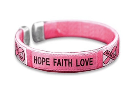 Breast Cancer Awareness Bangle- Hope Faith Love