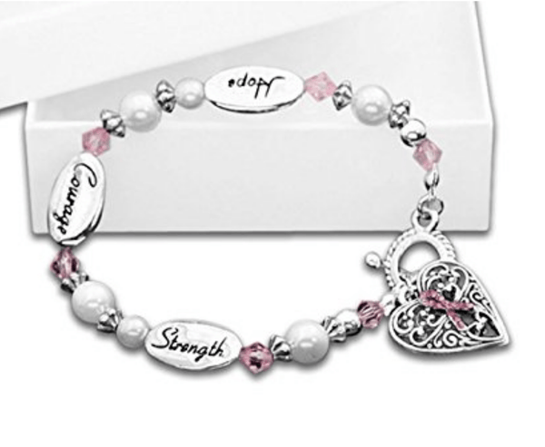 Hope Strength Breast Cancer Awareness Bracelet