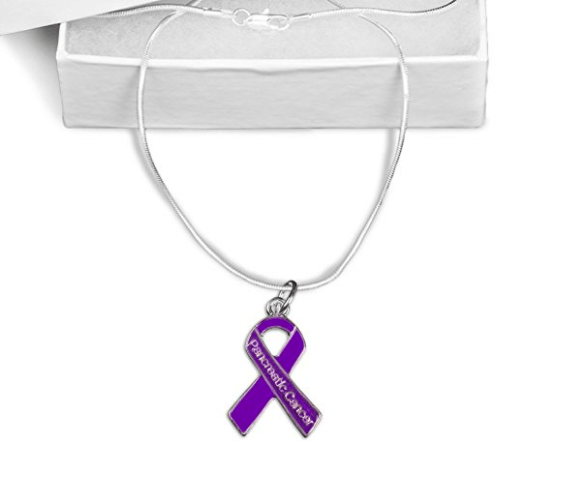 Pancreatic Cancer Awareness Ribbon Necklace
