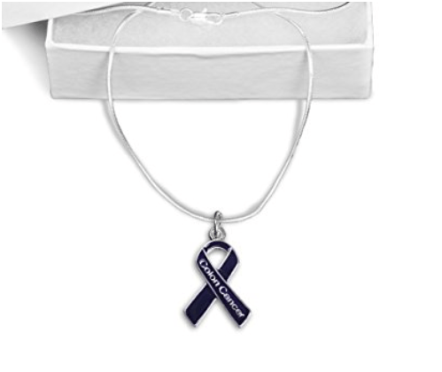 Colon Cancer Awareness Ribbon Necklace