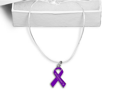 Alzheimer's Ribbon Necklace