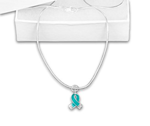 Ovarian Cancer Awareness Teal Ribbon Necklace