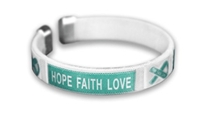 5 Pack Ovarian Cancer Hope Faith Love Bangles