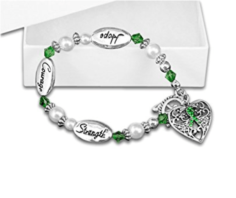 Hope Strength Courage Lymphoma Awareness Bracelet