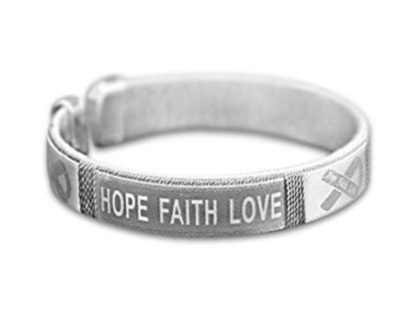 5 Pack Hope Faith Love Brain Cancer Awareness Bangles