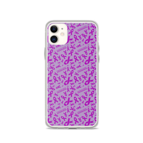 Pancreatic Cancer Awareness Ribbon Pattern iPhone Case