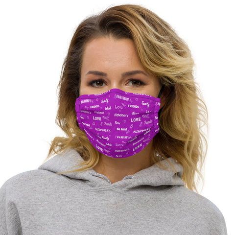 Alzheimer's Awareness Be Kind Pattern Premium Face Mask
