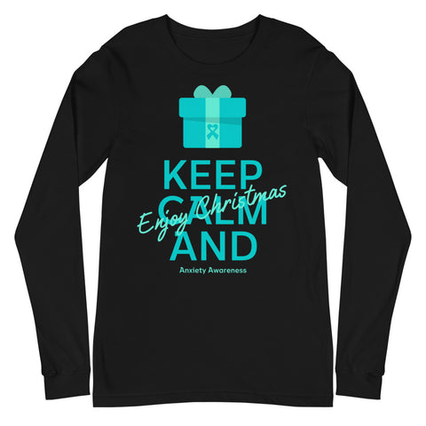 Anxiety Awareness Keep Calm and Enjoy Christmas Long Sleeve T-Shirt