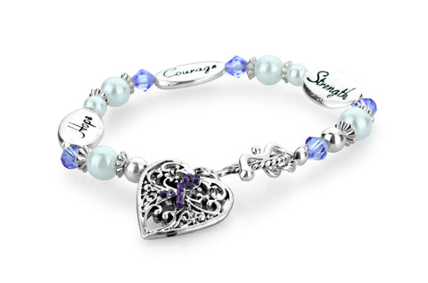 Hope Strength Courage Fibromyalgia Awareness Bracelet