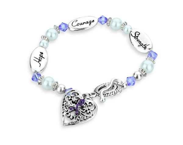 Hope Strength Courage Cystic Fibrosis Awareness Bracelet