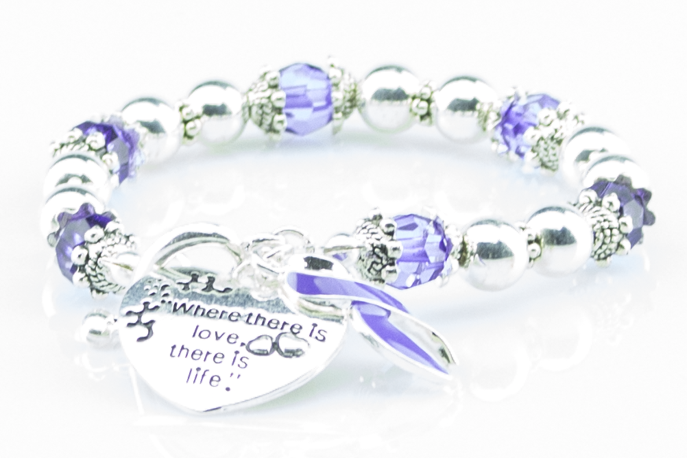 Where There Is Love Fibromyalgia Ribbon Bracelet